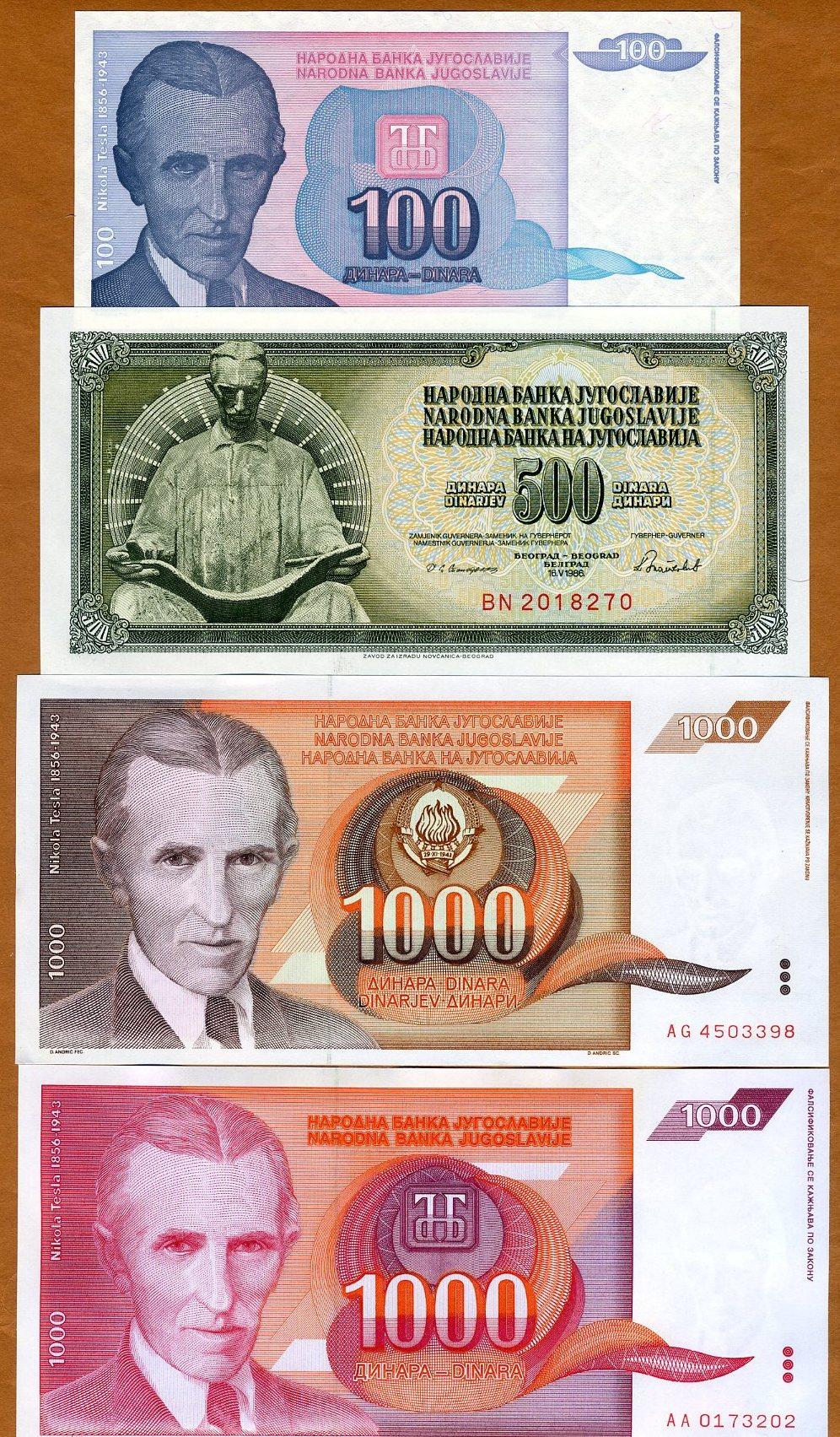 4 Nicola Tesla Notes 100;500;1000;1000 Dinara 1986-1994 UNC SET Yugoslavia