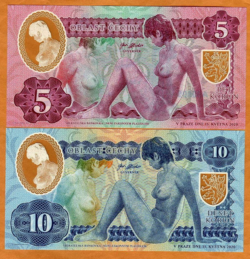 10 Korun Private Issue Essay Bohemia Clear Window Polymer 2020 Nude Allegory