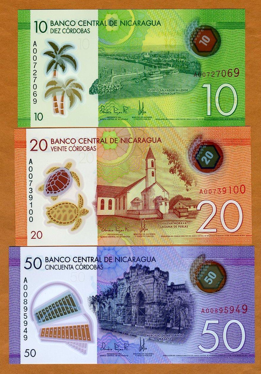 2015 POLYMER New Design Pick New 10;20;50 cordobas SET Nicaragua 2014 UNC