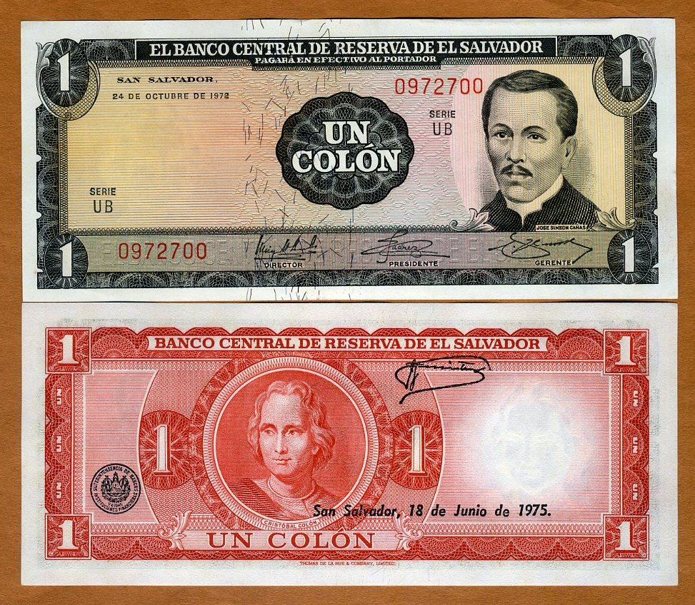 El Salvador 1 colon 1972 UNC p115