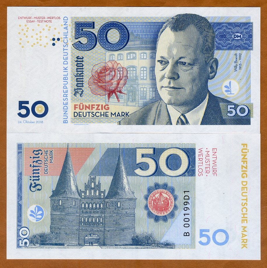 Private Issue 50 Mark Federal Republic Specimen 2018 /> Willy Brandt Germany