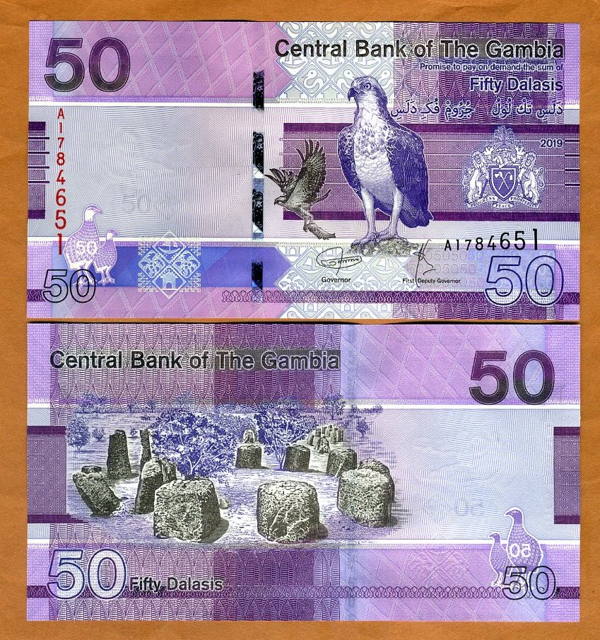 Gambia 2019 UNC /> Bird P-New A-Prefix ND 5 Dalasis redesigned
