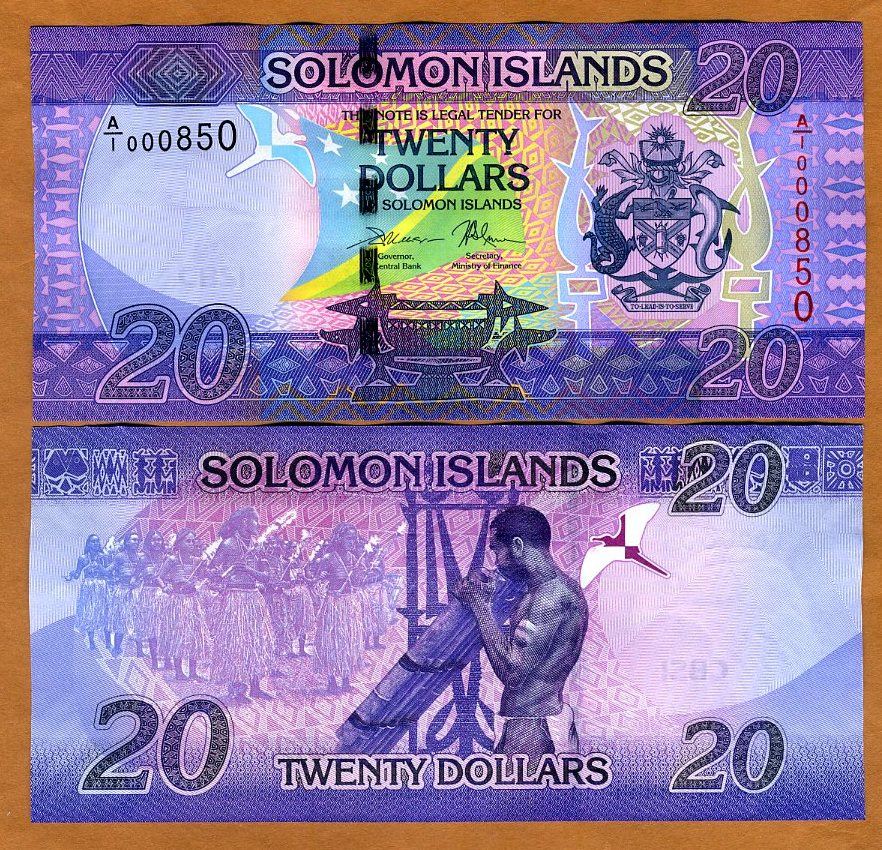 P-28 UNC SOLOMON ISLANDS 20 DOLLARS PREFIX C//4 ND 2008
