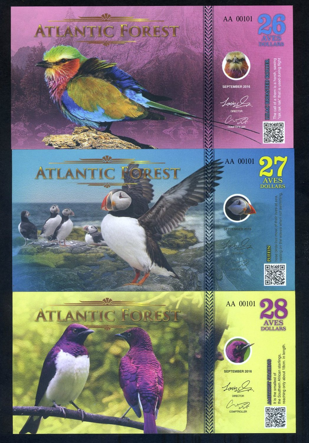 ATLANTIC FOREST 31 AVES DOLLARS BIRD BLUE JAY 2017 UNC