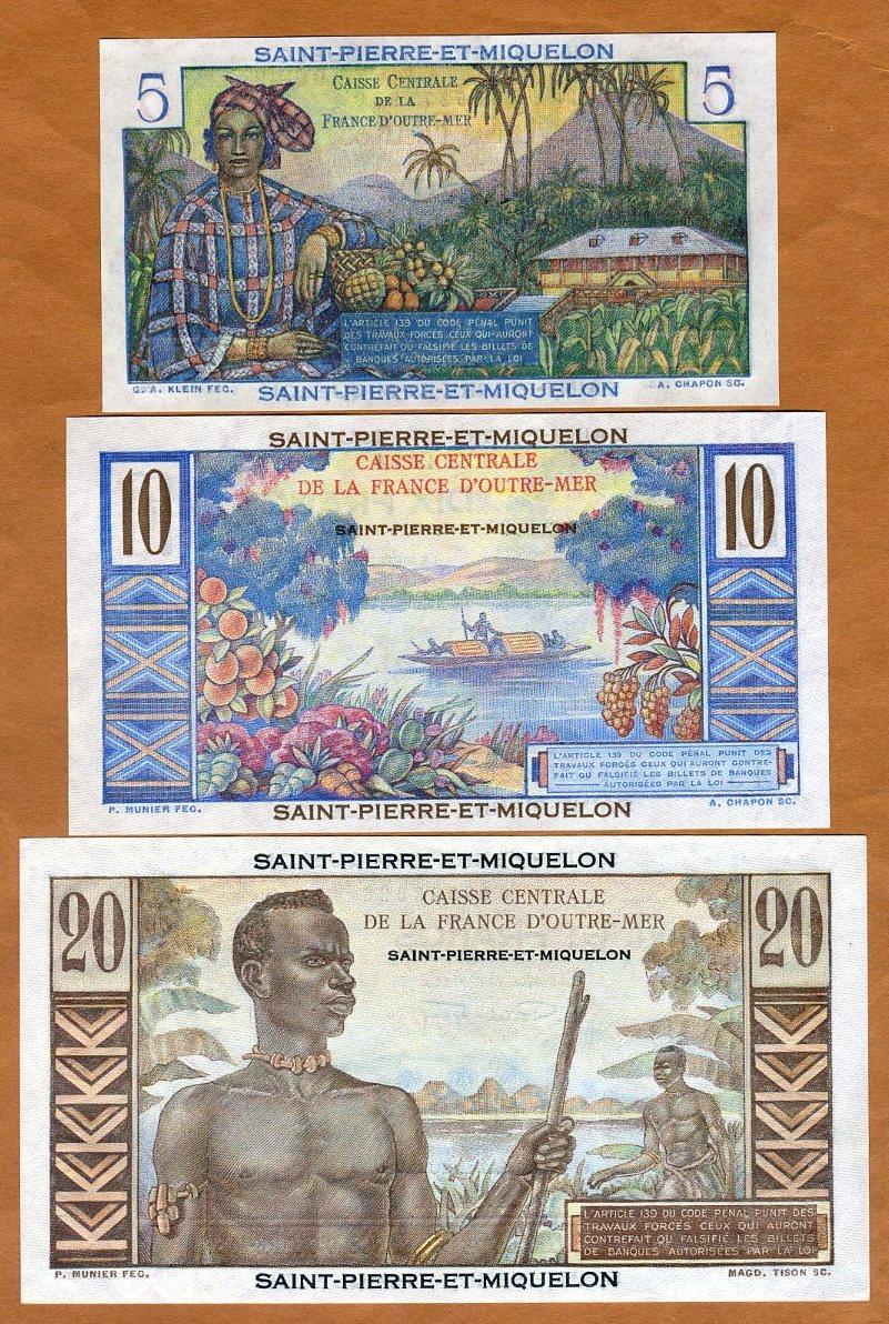 SET Saint Pierre and Miquelon 1950 P-22-23-24 ND UNC 5;10;20 Francs