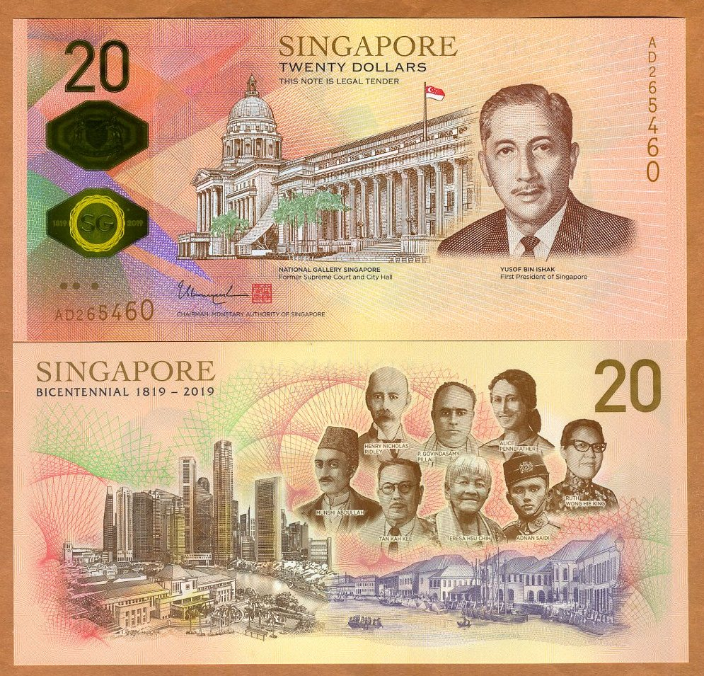 SINGAPORE 20 Dollars New 2019 200th Bicentennial Commemorative UNC Polymer note