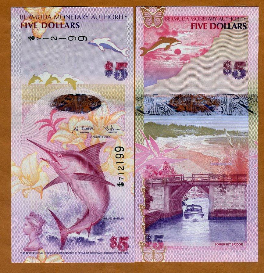 2009 Bermuda 5 Dollars Marlin//Bridge//Polymer Hybrid//p58 UNC