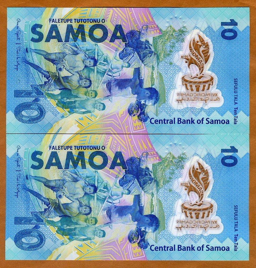 SAMOA 10 TALA COMM XVI PACIFIC TDLR 2019 POLYMER P NEW ZZ PREFIX LOW SERIAL UNC
