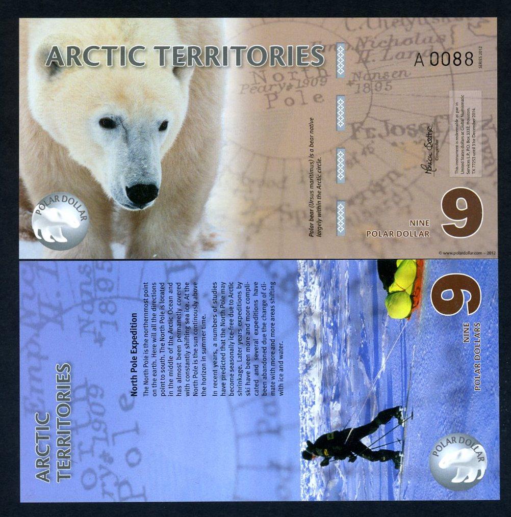 Polymer $9 Arctic Territories 2012 UNC /> Polar Bear