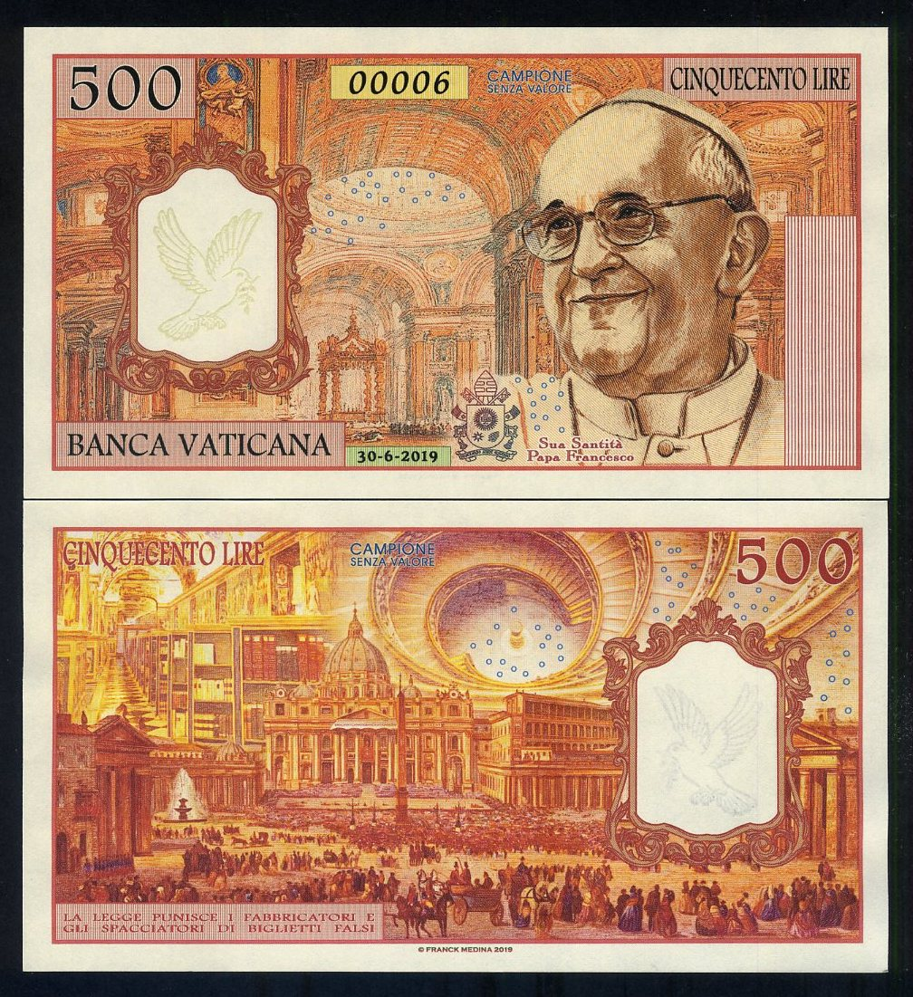 UNC /> Pope Francis Vatican 1000 Lire 2016 Private Issue Kamberra