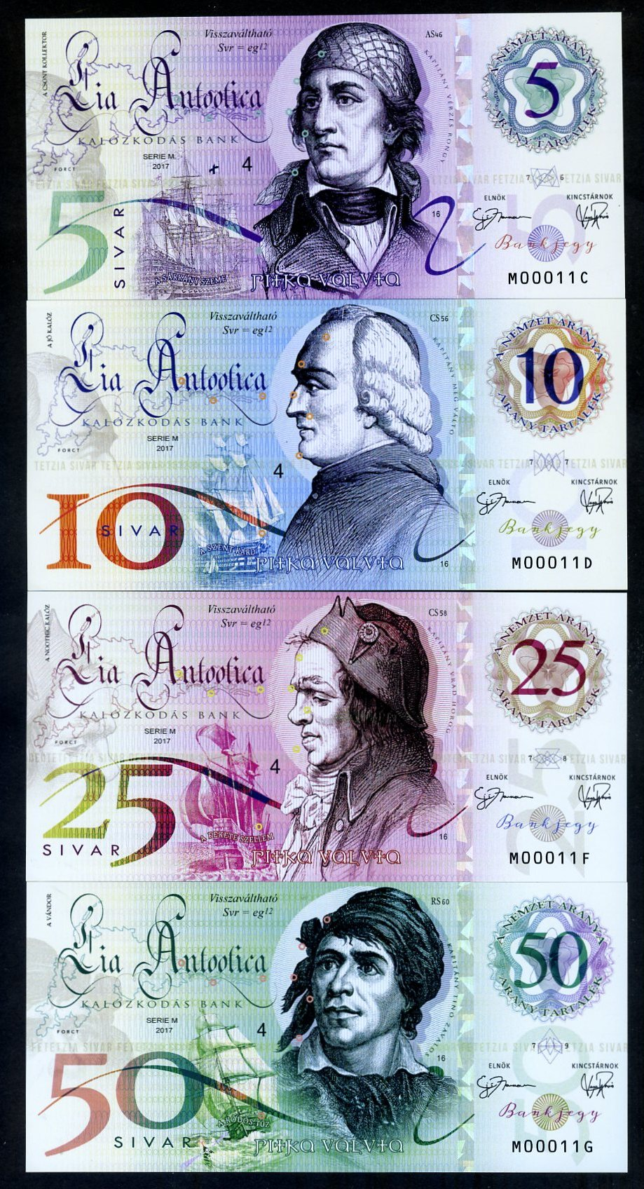 Lia Antootica Set Polymer-UNC /> Pirate-Notes 5-10-25-50 Sivar 2017