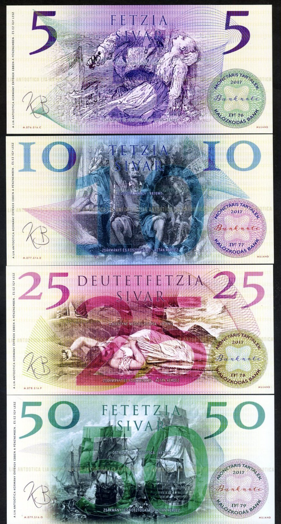Lia Antootica 5 10 25 50 Sivar Pirate-Notes 2017 UNC Polymer Lemberg-Zp