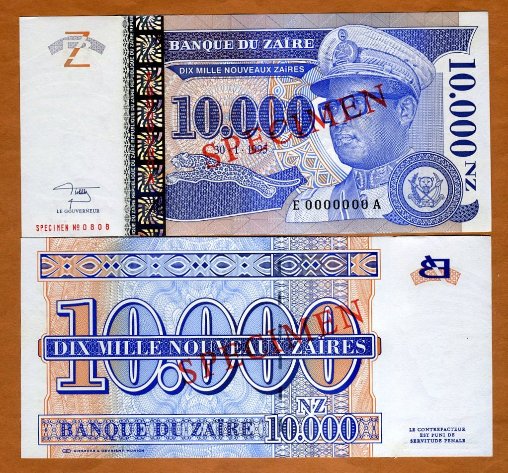 10000 P-70s UNC SPECIMEN 70 Zaire 10,000 NZ 1995