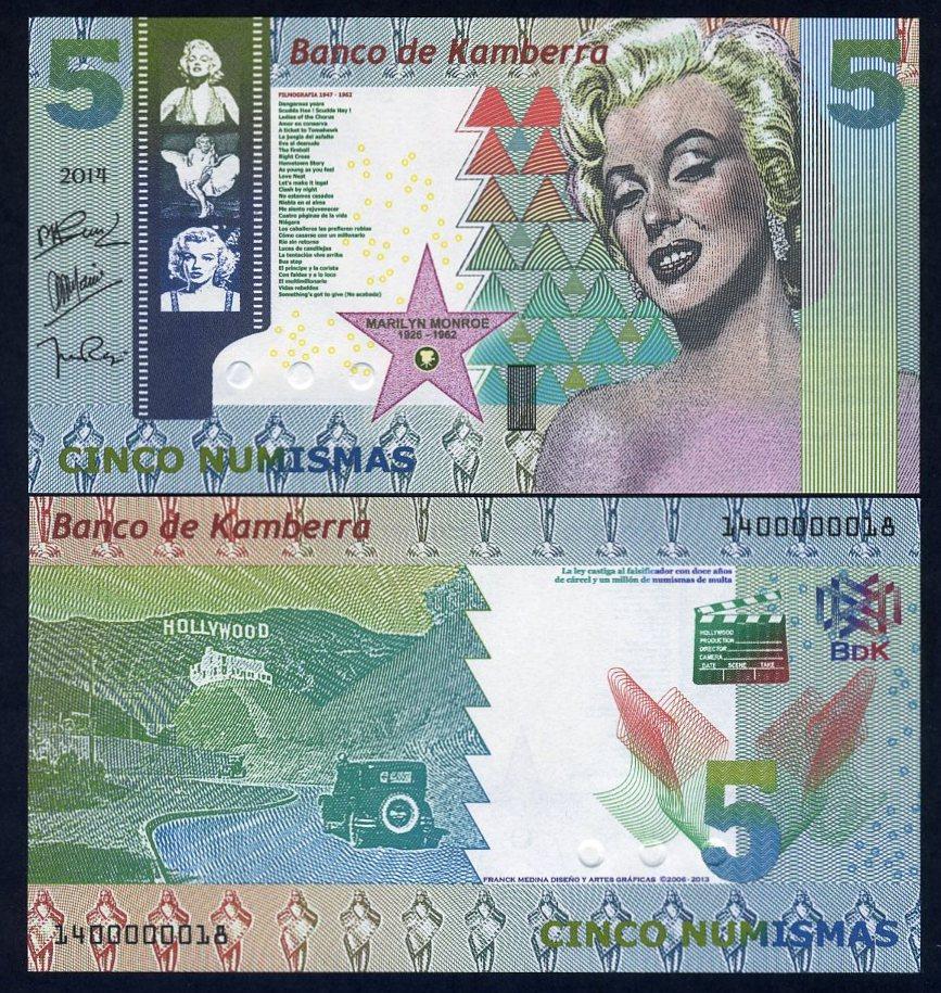 Kamberra Kingdom 5 Numismas UNC /> Marilyn Monroe 2014