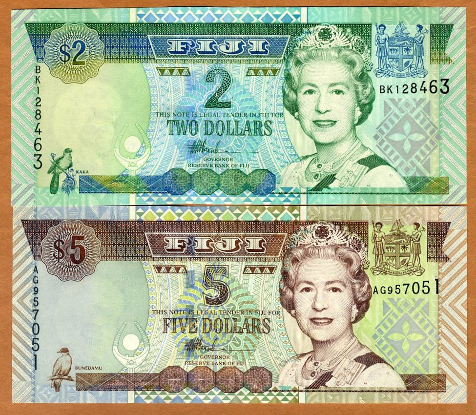 UNC P-104 ND Fiji 2 Dollars 2002 Lot 5 PCS