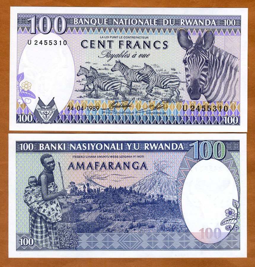 Rwanda 100 Francs 1989 P-19 Zebra Herd Unc