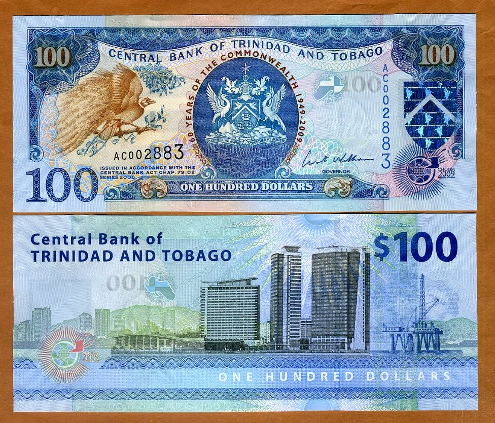 100 dollars P-NEW UNC Trinidad and Tobago Re-designed 2006 2014