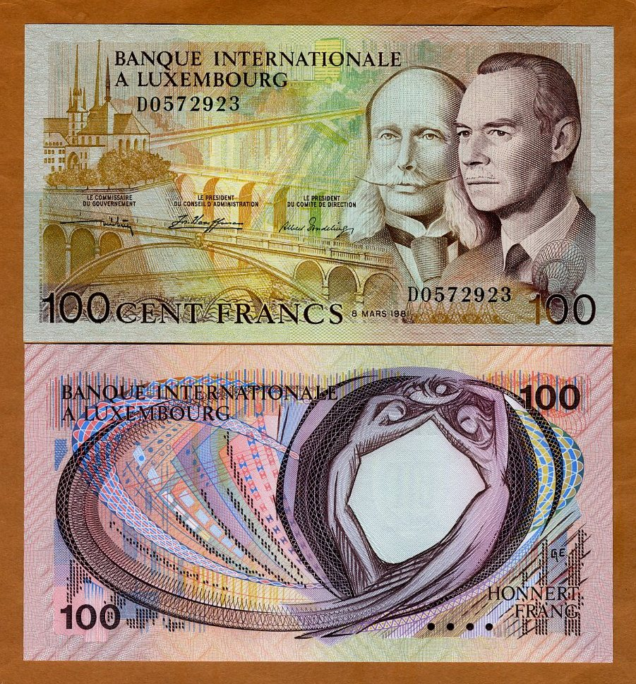 LUXEMBOURG 100 Francs Sign 2 Grand Duke Jean 1986 P-58b UNC Uncirculated
