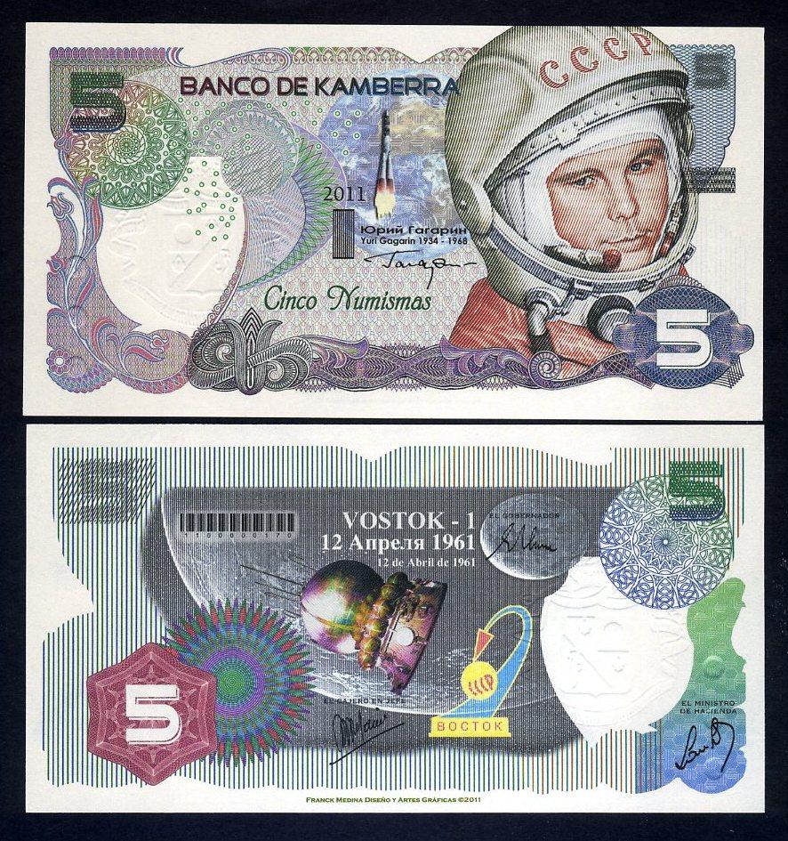 2011 UNC Yuri Gagarin Commemorative 1st man in space 5 Numismas Kamberra