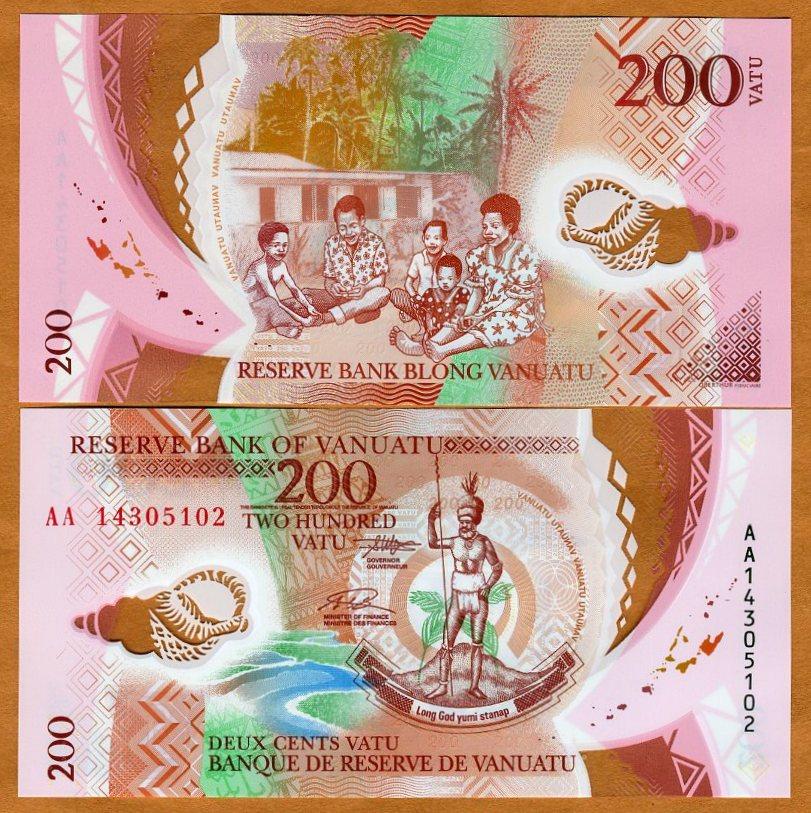 UNC Banknote 2014 Vanuatu 200 Vatu P-New Polymer