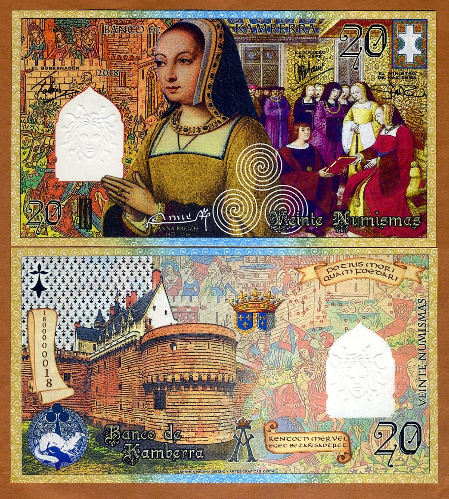 Commemorative 20 Numismas Kamberra UNC Anne of Brittany 2018 French style
