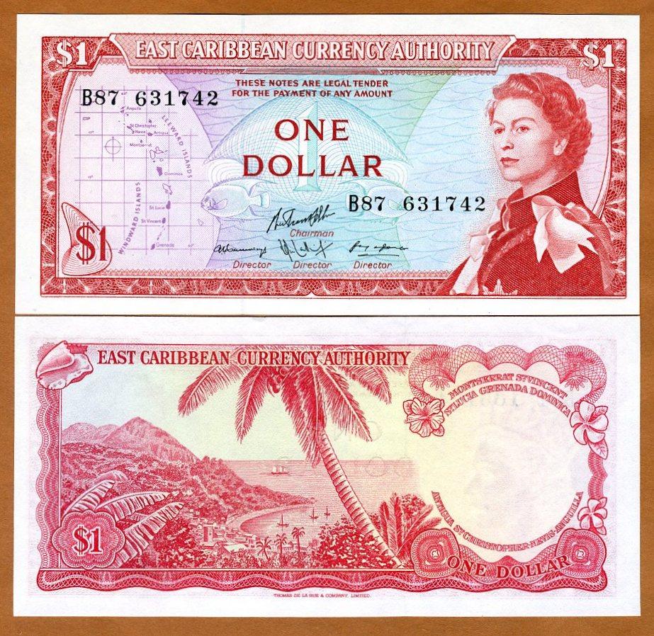 Eastern Caribbean Banknote P13e-1 Dollar Sig 8 QE II UNC