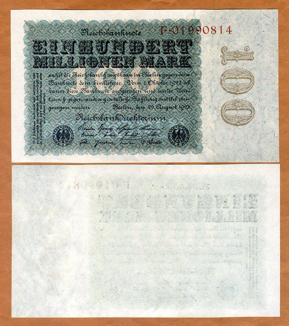 GERMANY 100 MILLIONEN 1923 P 107 g UNC