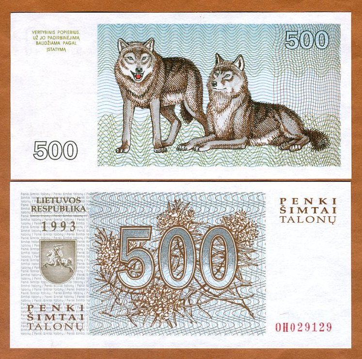 Pick 46 LITHUANIA 500 Talonu 1993 UNC