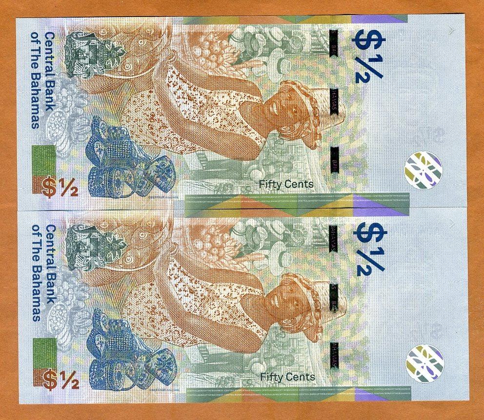 2 x 1//2 dollar SET Bahamas UNC QEII 50 cents 2019 Consecutive pair 2018
