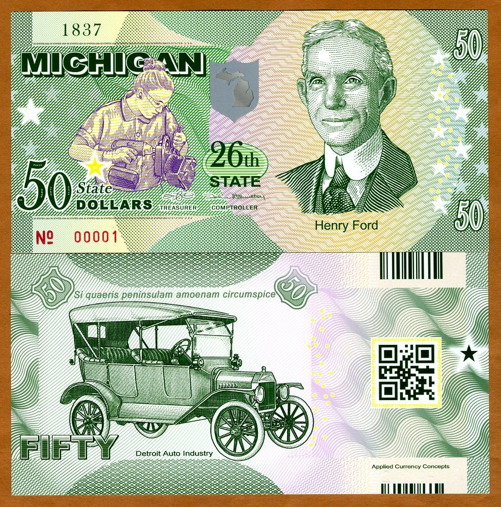 Model T ND $50 2017 Polymer USA States UNC Henry Ford Michigan