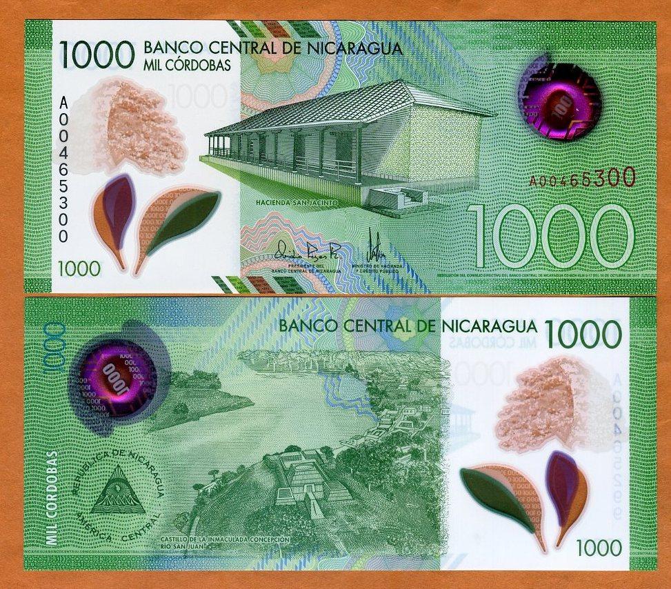 2019 UNC P-New 2017 Banknotes Original A Prefix Nicaragua 1000 Cordobas