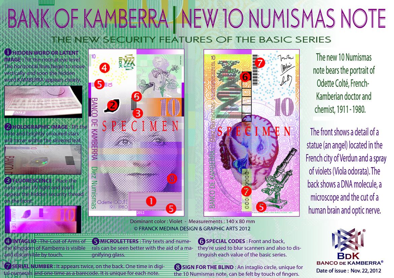 50 Numismas UNC /> Sophie Jenlin /> Redesigned New Issue 2013 SPECIMEN Kamberra