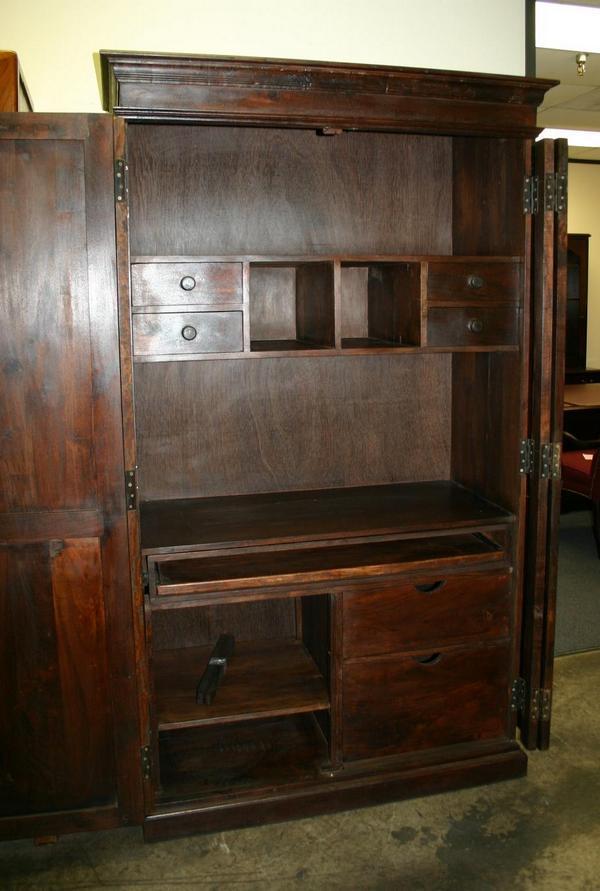 Hidden armoire chest puter desk drawer cabinet