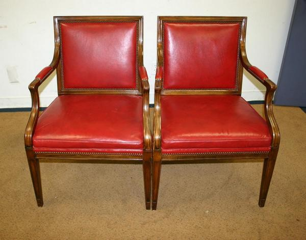 Antique Style Traditional Baker Furniture Louis Leather Guest Side Chairs