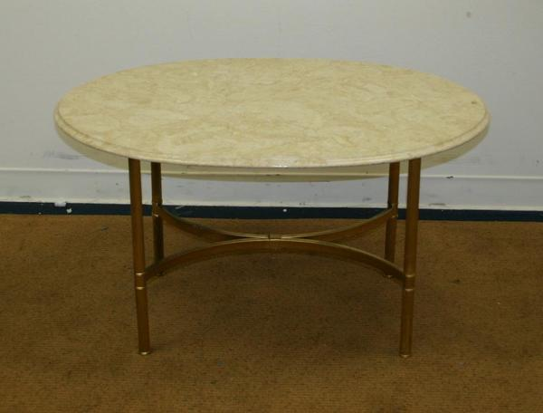 Vintage marble brass oval modern coffee table stand ebay for Oval copper coffee table