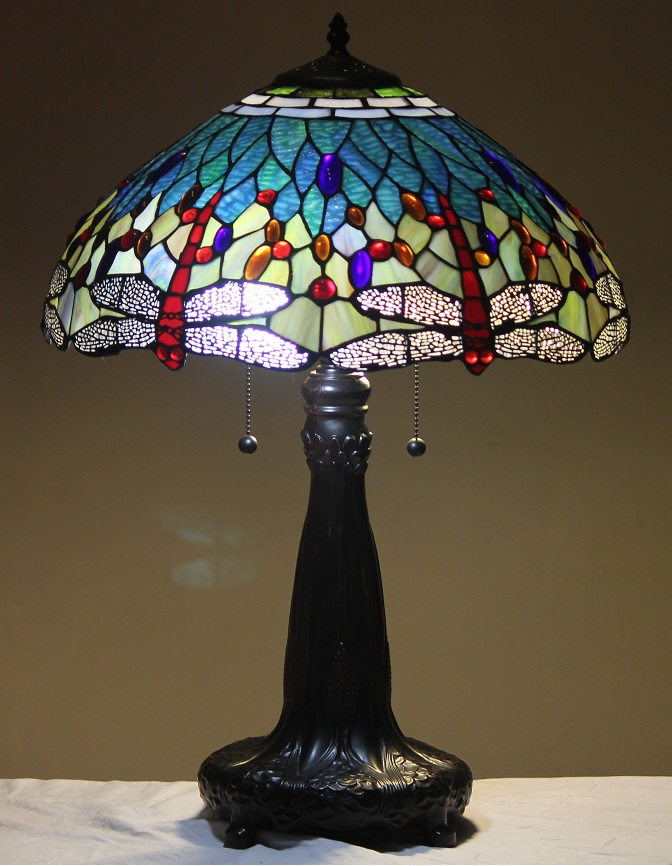 Stained Glass Wall Lamp Shades : Tiffany Style Stained Glass Table Lamp Aqua Dragonfly w 18 Shade Metal Base eBay
