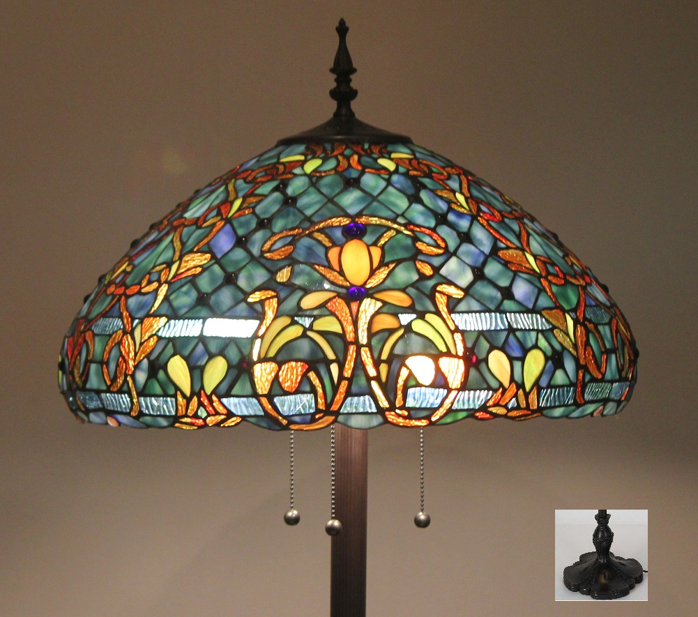 Stained Glass Wall Lamp Shades : Tiffany Style Stained Glass Floor Lamp