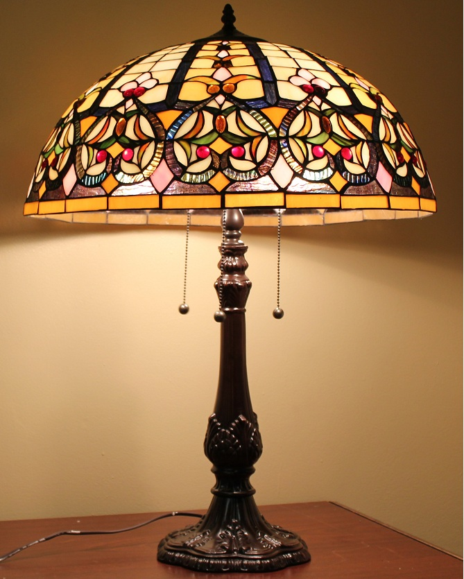 tiffany style stained glass lamp granduer w 20 shade ebay. Black Bedroom Furniture Sets. Home Design Ideas