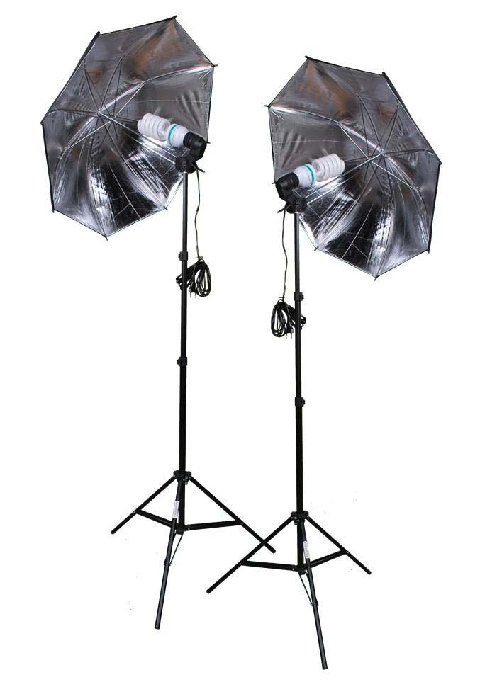 2er Set Fotolampe Reflexschirm Stativ