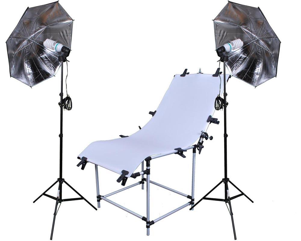 Set Fototisch 2x Reflexschirm Dauerlichtlampe