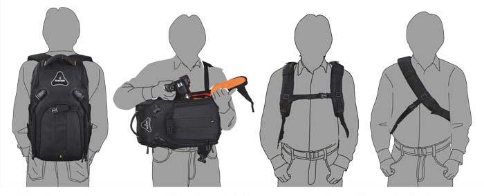 Rucksack, Fotoausrüstung, Tragemöglichkeiten, moderntex