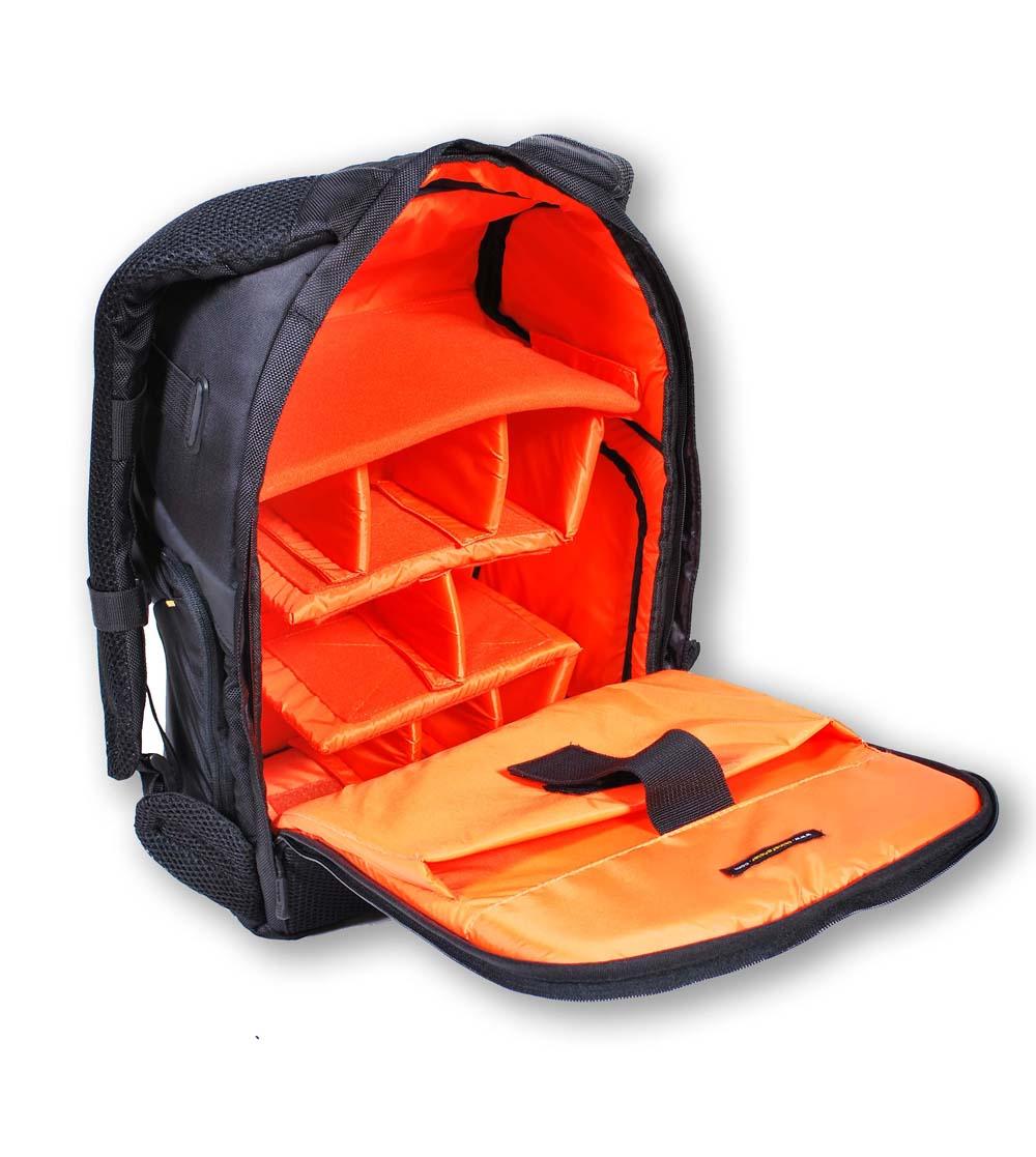 Rucksack, Fotoausrüstung, Taschen geöffnet, moderntex