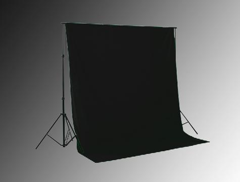 Hintergrundsystem mit schwarzem Fotostudio Hintergrund