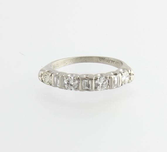 Quality Vintage .61cts Round Baguette Diamond Platinum Wedding Band ...