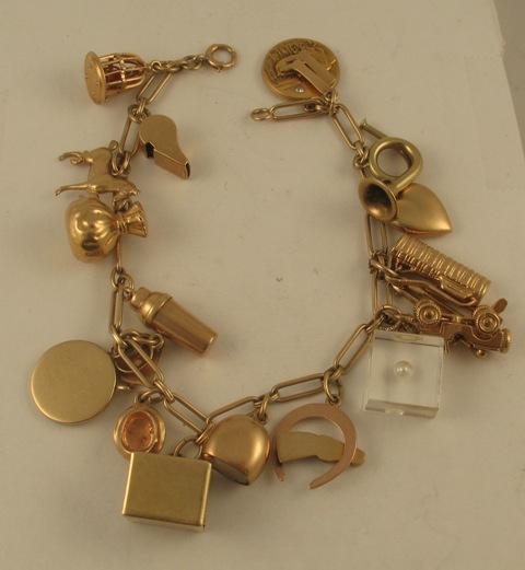 14k Yellow Gold Charm Bracelet: Vintage Tiffany & Co. Charms 14k Yellow Gold Charm