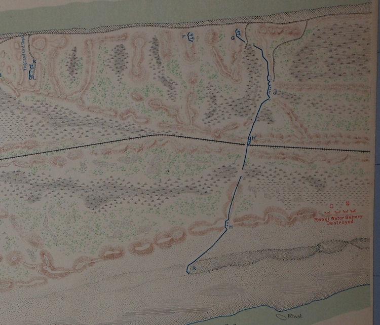 Fort Morgan Mobile Bay Alabama 1864 Civil War Map General Gordon
