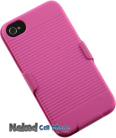PINK BELT CLIP HOLSTER + CASE COVER FOR iPHONE 4 4G 4S