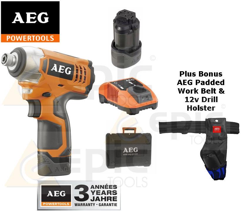aeg 12v li ion cordless impact drill driver 2x 1 5ah. Black Bedroom Furniture Sets. Home Design Ideas
