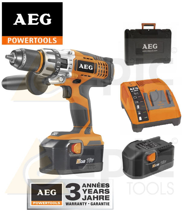 aeg 18v pro combi hammer drill driver 2x 2 0ah ni cd. Black Bedroom Furniture Sets. Home Design Ideas