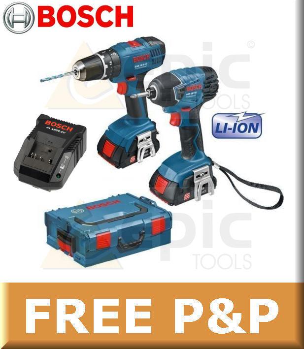 bosch 18v cordless gsb18 combi drill gdr18 impact driver 2 6ah li ion batteries ebay. Black Bedroom Furniture Sets. Home Design Ideas